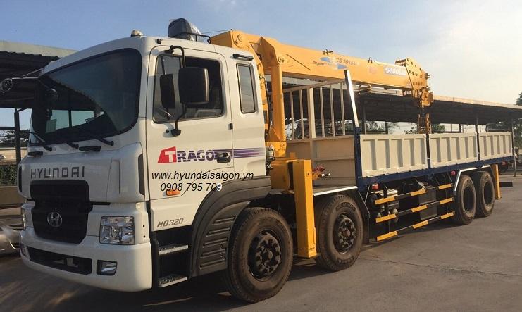 Xe tải cẩu 12 tấn Soosan 1015Ls Hyundai 4 chân HD320...